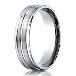 Designer Palladium Men's Ring With Polished Center Trim | 6mm