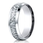 Designer Palladium Wedding Ring With Hammered Finish | 7.5mm