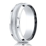 Designer Palladium Glass Finish Ring With Rope Detail | 7.5mm