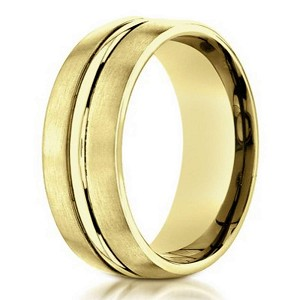 Designer 10K Yellow Gold Wedding Band With Polished Center | 6mm