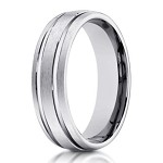 Men's 10K White Gold Wedding Ring With Polished Lines | 6mm