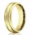 Designer Men's 10K Yellow Gold Ring With Polished Lines | 6mm