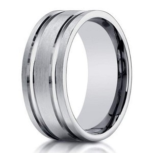 Designer Men's 10K White Gold Ring With Polished Lines | 8mm