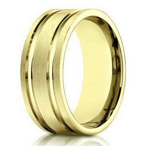 Men's 10K Yellow Gold Wedding Ring With Polished Lines | 8mm