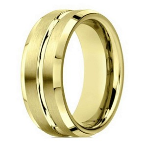 Designer Men's 10K Yellow Gold Ring With Polished Center Cut | 6mm