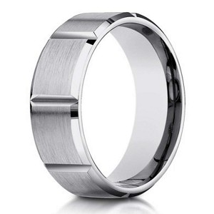 Designer Men's 10K White Gold Ring With Vertical Grooves | 6mm