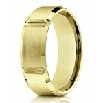 Designer Men's 10K Yellow Gold Wedding Ring With Grooves | 8mm