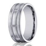 Designer Men's 10K White Gold Wedding Band With Geometric Design | 8mm