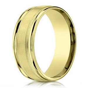 Designer Men's 10K Yellow Gold Wedding Ring With Beading | 6mm