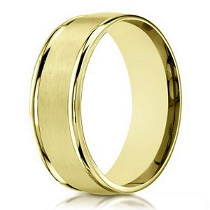 Designer 10K Yellow Gold Wedding Band With Satin Finish | 6mm