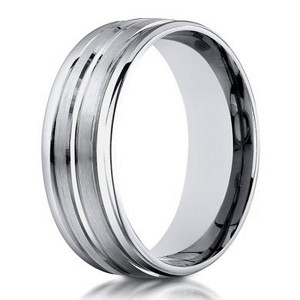 Designer Men's 10K White Gold Wedding Band With Center Cut | 6mm