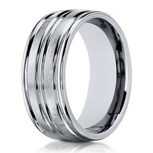 Designer Men's 10K White Gold Ring With Polished Cuts | 8mm