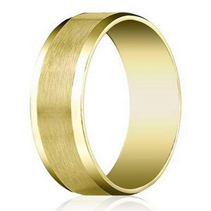 Designer 8 mm Beveled Edge Satin Finish Comfort-fit 14K Yellow Gold Wedding Band - JB1027