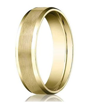designer 4 mm beveled edge satin finish comfort fit 14k yellow gold wedding band - Mens Gold Wedding Rings