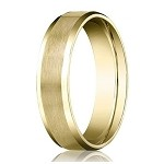 Men's Wedding Ring in 18K Yellow Gold with Beveled Edges | 6mm