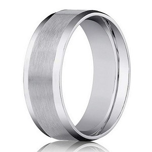 8mm Men's Beveled Edge Satin Finish Comfort Fit 14k White Gold Designer Wedding Band