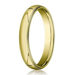 Designer 3 mm Domed Milgrain Polished Finish with Comfort-fit 10K Yellow Gold Wedding Band - JB1041
