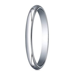 Designer 2 mm Traditional Fit Milgrain 10K White Gold Wedding Band - JB1062