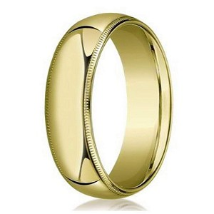 Designer 8 mm Domed Milgrain Polished Finish with Comfort-fit 14K Yellow Gold Wedding Band - JB1066