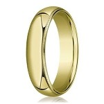 Designer 6 mm Domed Milgrain Polished Finish with Comfort-fit 10K Yellow Gold Wedding Band - JB1044