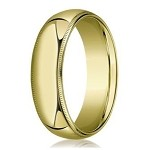 Designer 7 mm Domed Milgrain Polished Finish with Comfort-fit 10K Yellow Gold Wedding Band - JB1045