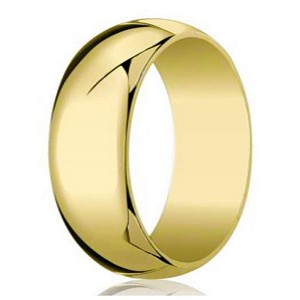 Designer 8 mm Traditional Domed Polished Finish 10K Yellow Gold Wedding Band - JB1087
