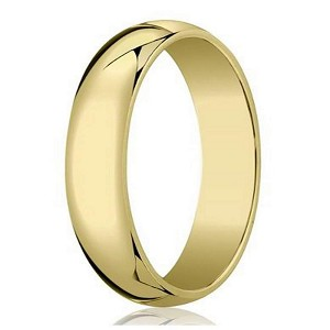 Designer 6 mm Traditional Domed Polished Finish 10K Yellow Gold Wedding Band - JB1085