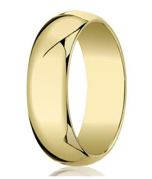 Designer 7 mm Traditional Domed Polished Finish 10K Yellow Gold Wedding Band - JB1086