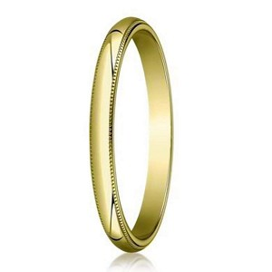 Designer 2 mm Traditional Fit Milgrain 14K Yellow Gold Wedding Band - JB1114