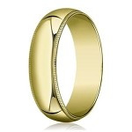 Designer 8 mm Traditional Fit Milgrain 10K Yellow Gold Wedding Band - JB1106