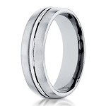 Designer 6 mm Engraved & Satin Finish 14K White Gold Wedding Band - JB1123