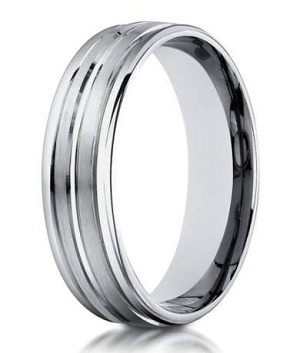 Designer 4 mm Engraved & Polished Finish 14K White Gold Wedding Band - JB1130