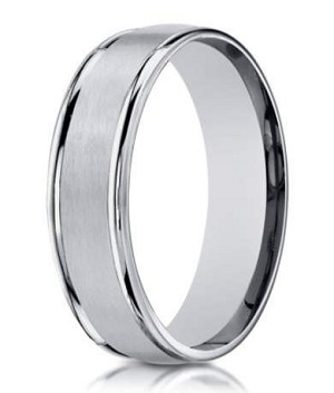 Designer 6 mm Engraved & Satin Finish 14K White Gold Wedding Band - JB1136