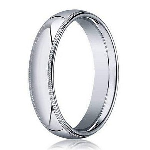 18K White Gold Men's Designer Wedding Ring, Milgrain Edges | 4mm