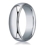 Milgrained Men's Designer Wedding Band in 18K White Gold | 8mm