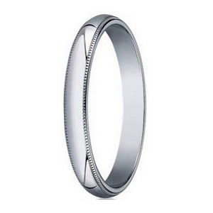 Designer 3 mm Traditional Fit Milgrain 14K White Gold Wedding Band - JB1108