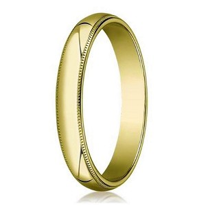 Men's 18K Yellow Gold Designer Wedding Band, Milgrain Beading | 4mm