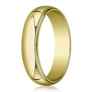 Milgrained Designer Wedding Ring for Men in 18K Yellow Gold | 5mm