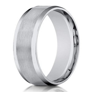 Men's Designer 18K White Gold Wedding Band, Satin Center | 6mm