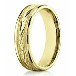 Designer 6 mm Carved Comfort-fit 10K Yellow Gold Polished Finish Wedding Band - JB1296