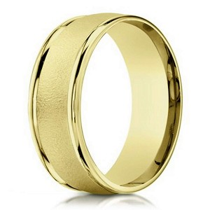 18K Yellow Gold Men's Designer Wedding Band, Sand Blasted | 6mm