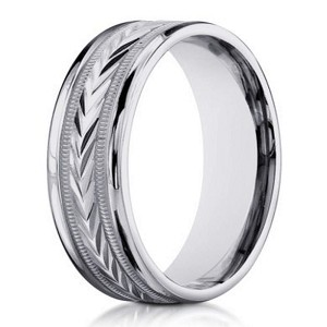 6mm men's 18k White Gold Wedding Band with Carved Arrow Design