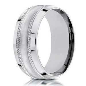 Designer 18K White Gold Men's Wedding Ring, Glass Finish | 7.5mm
