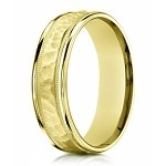 Designer Men's 14K Yellow Gold Ring With Hammered Center | 6mm