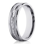 Carved Center Men's Designer 14K White Gold Wedding Ring | 6mm