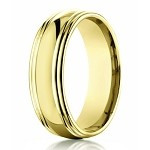 Men's Designer 14K Yellow Gold Wedding Band, Double Edges | 7.5mm