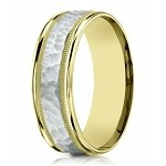 Two Tone Men's Wedding Ring in 14K Gold, Hammered Accent | 6mm