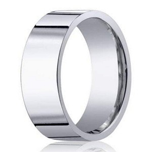 Designer Men's Wedding Ring in 14K White Gold, Flat Profile | 8mm