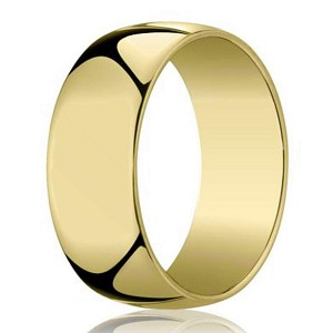 Designer 14K Yellow Gold Wedding Ring For Men, Polished Dome | 7mm
