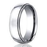 Designer Cobalt Chrome Rounded Edge Wedding Ring with Polished Finish | 7mm - JBCB1002